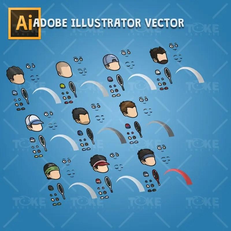 Tiny Tennis Players - Adobe Illustrator Vector Art Based Character Body Parts