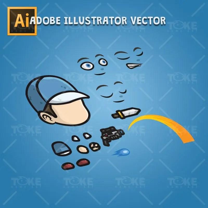 Adventurous Guy 02 - Adobe Illustrator Vector Art Based Character Body Parts