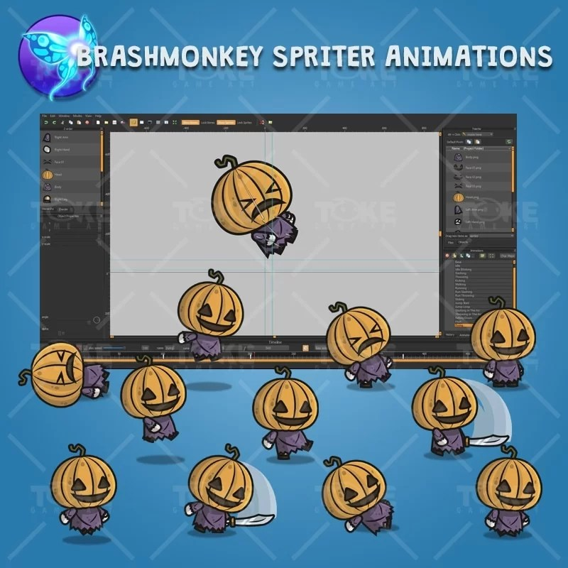 Pumpkin Head Guy - Brashmonkey Spriter Character Animations