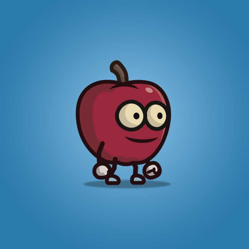 Red Apple Guy - 2D Character Sprite