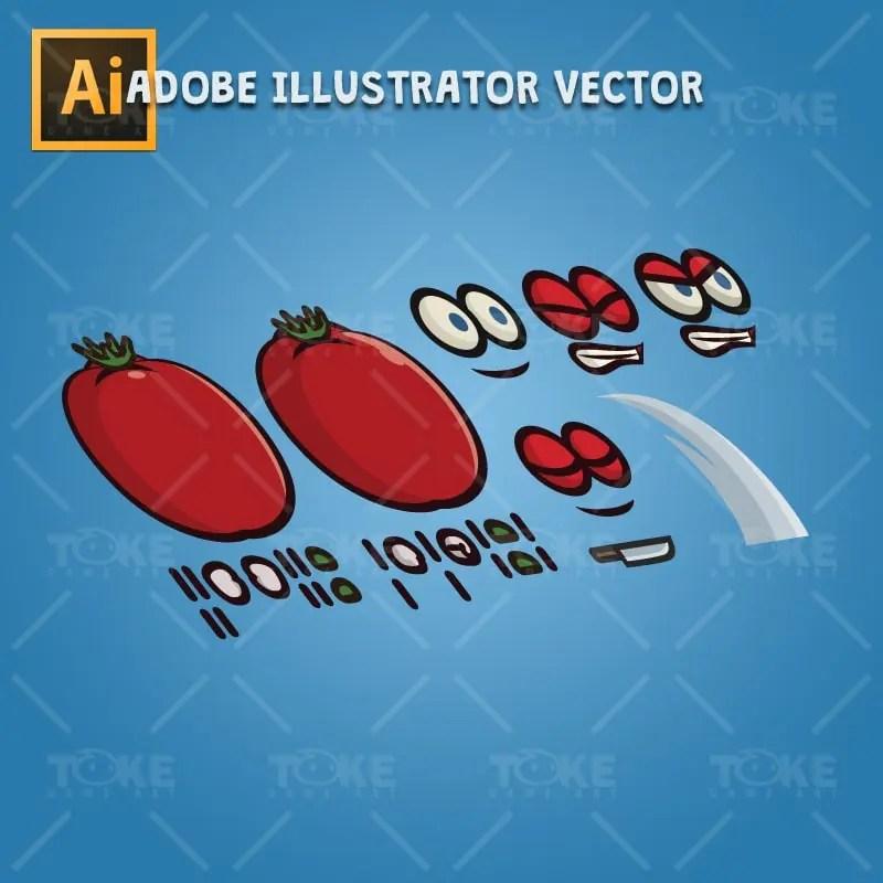 Tomato Guy - Adobe Illustrator Vector Art Based Character Body Parts