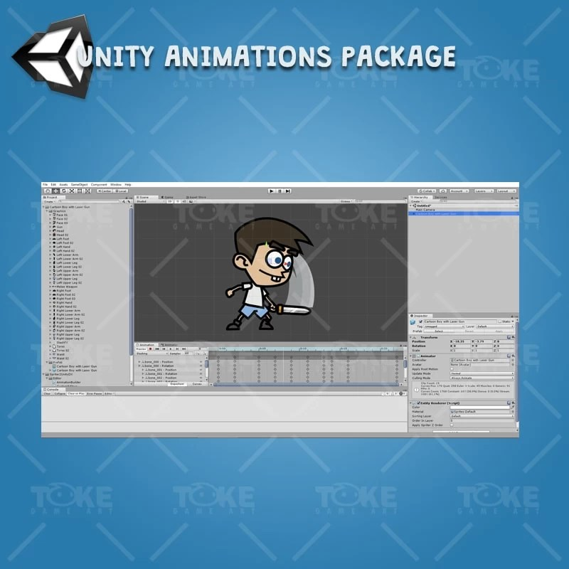 Cartoon Boy with Laser Gun - Unity Character Animation Package Ready with Spriter2UnityDX Tool