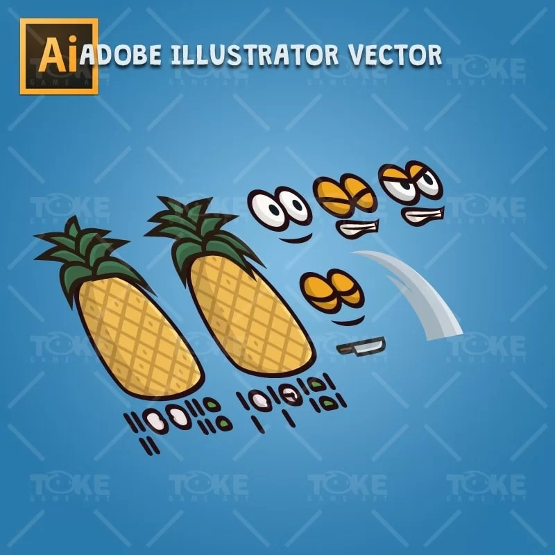 Pineapple Guy - Adobe Illustrator Vector Art Based Character Body Parts