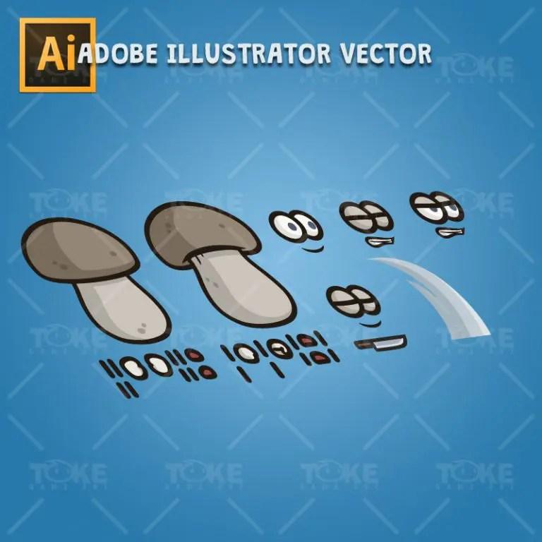 Mushroom Guy - Adobe Illustrator Vector Art Based Character Body Parts