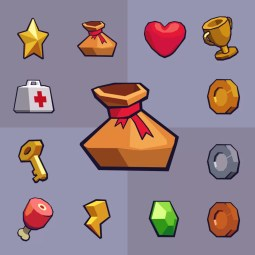 10 Collectable Spinning Items - 2D Game Asset