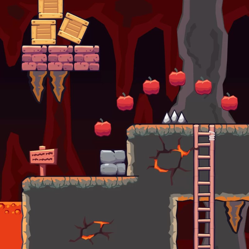 Lava Cave Area - 2D Game Tileset | TokeGameArt