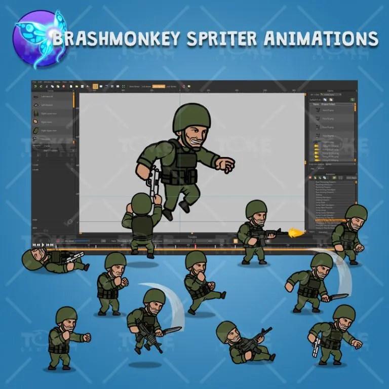Green Army Guy - Brashmonkey Spriter Character Animations