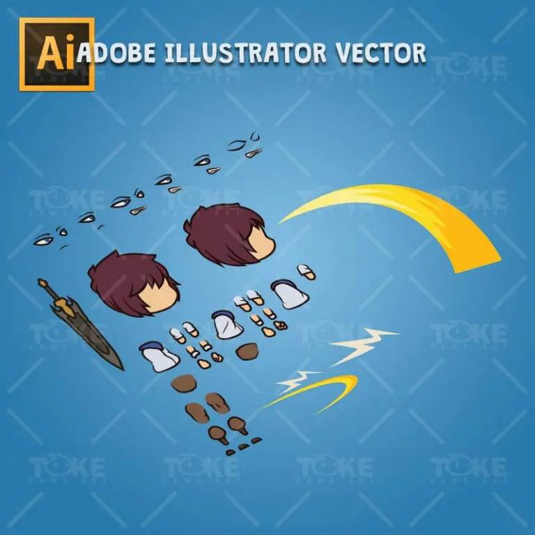 Knight Boy - Adobe Illustrator Vector Art Based Character Body Parts