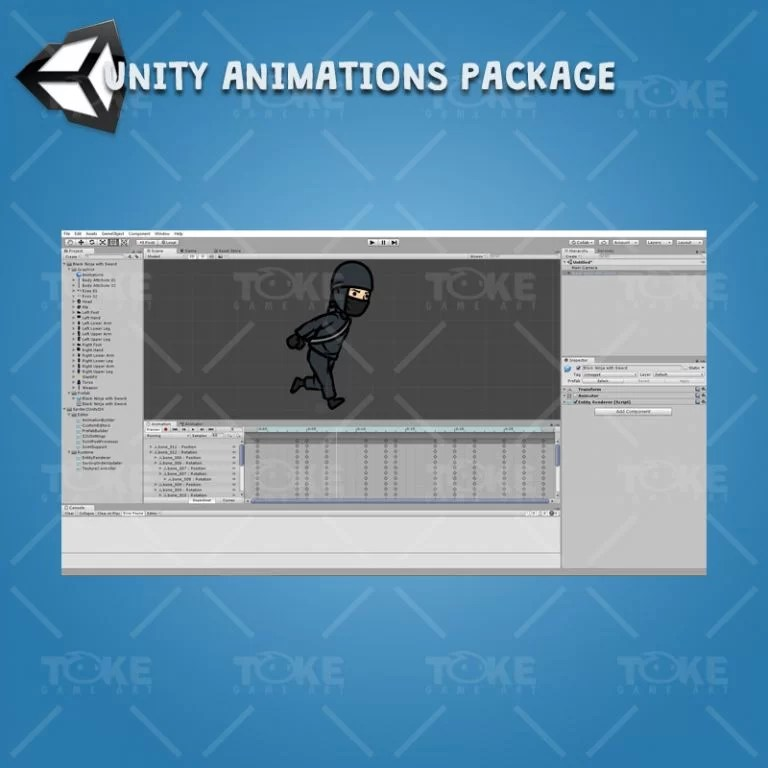 Black Ninja with Sword - Unity Character Animation Package Ready with Spriter2UnityDX Tool