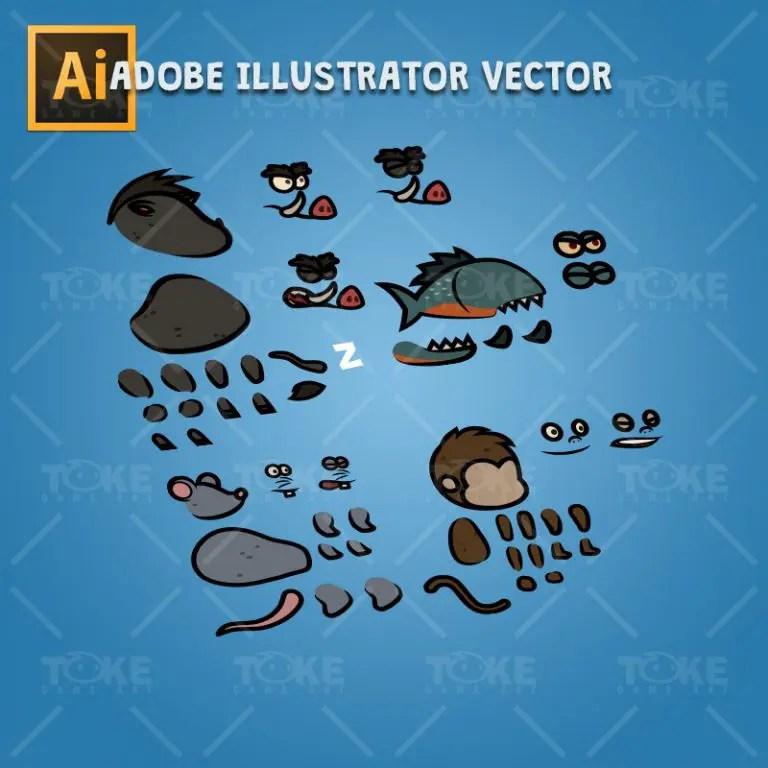 Cartoon Enemy Pack 04 - Adobe Illustrator Vector Art Based Character Body Parts