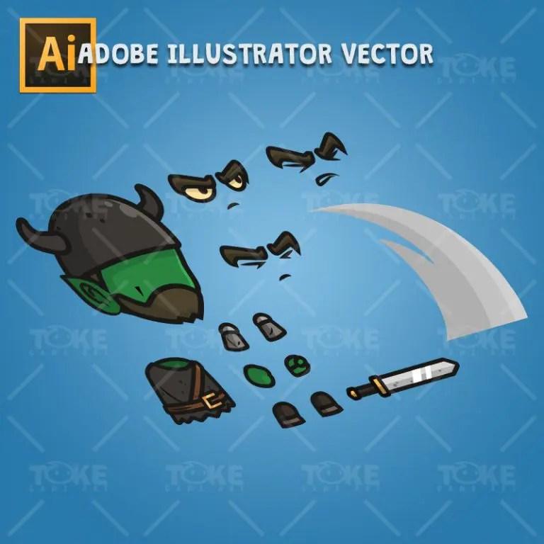 Goblin Knight - Adobe Illustrator Vector Art Based Character Body Parts