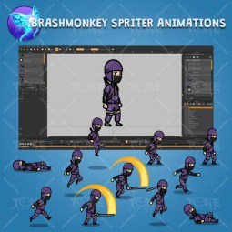Purple Ninja with Sword - Brashmonkey Spriter Character Animations