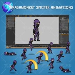 Purple Ninja with Sword - Brashmonkey Spriter Character Animations