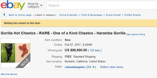 ebay listing for gorilla-shaped Cheeto