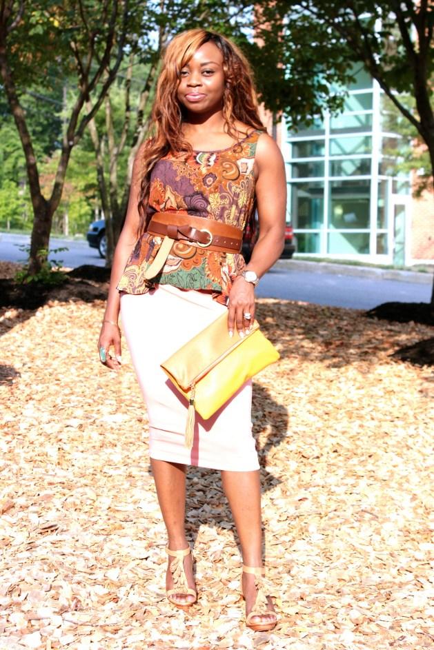 Coral Skirt + Print Top 5