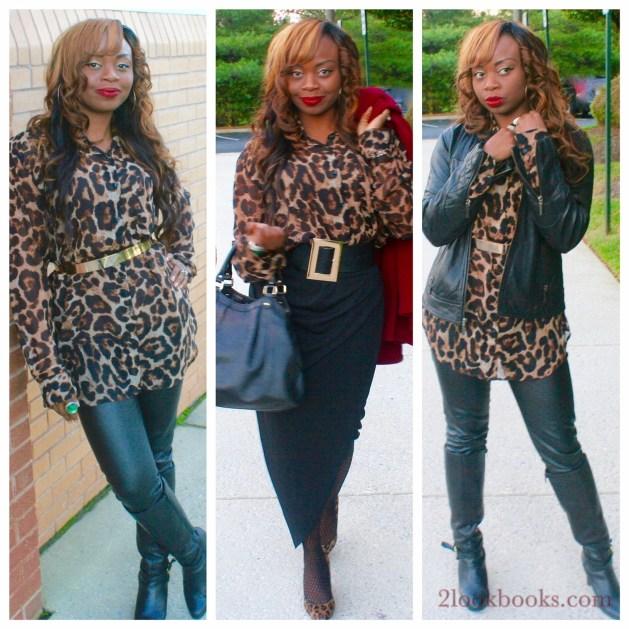 Animal print top plus black skirt and black leather pants