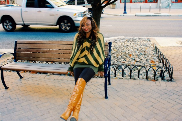 Oversized striped sweater and over the knee boots 5