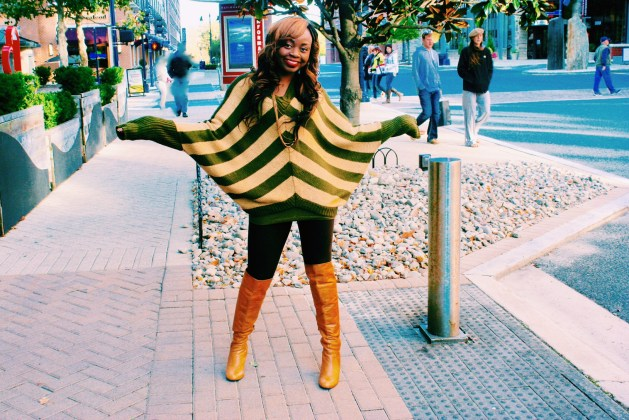 Oversized striped sweater and over the knee boots 6