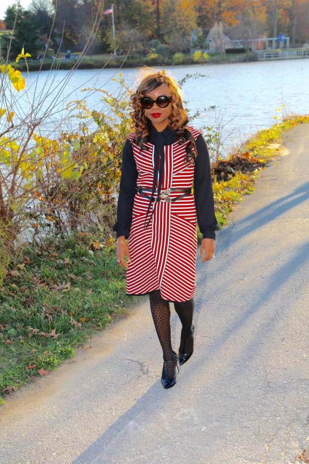 Striped Nine West Dress with Black Tie Neck Blouse and Prada Baroque Sunglasses