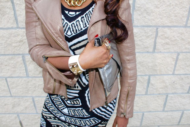 white-leather-cuffbracelet-pewterclutch-gold-motojacket