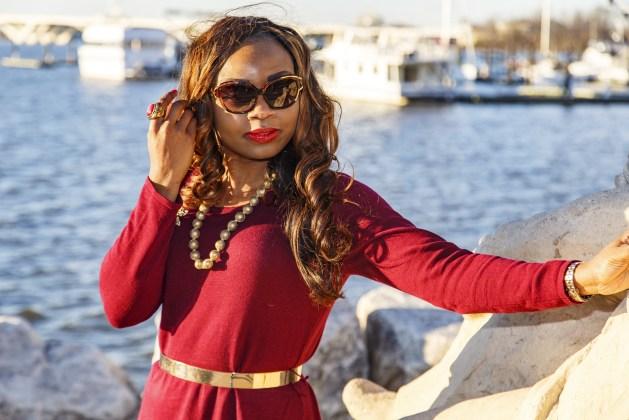 Prabal Gurung Sunglasses-Gold Necklace-Red Dress