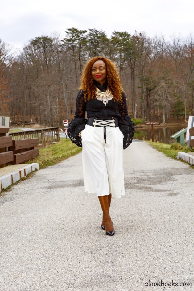 How to wear white culottes2