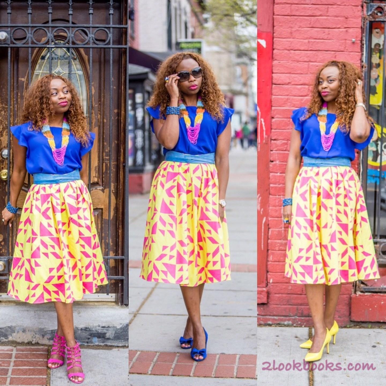 Asos Yellow Skirt-Blue Top
