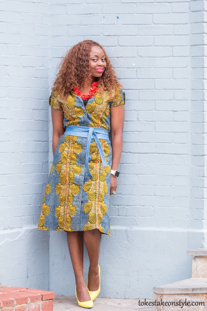 How to Style a Print Shirt Dress3