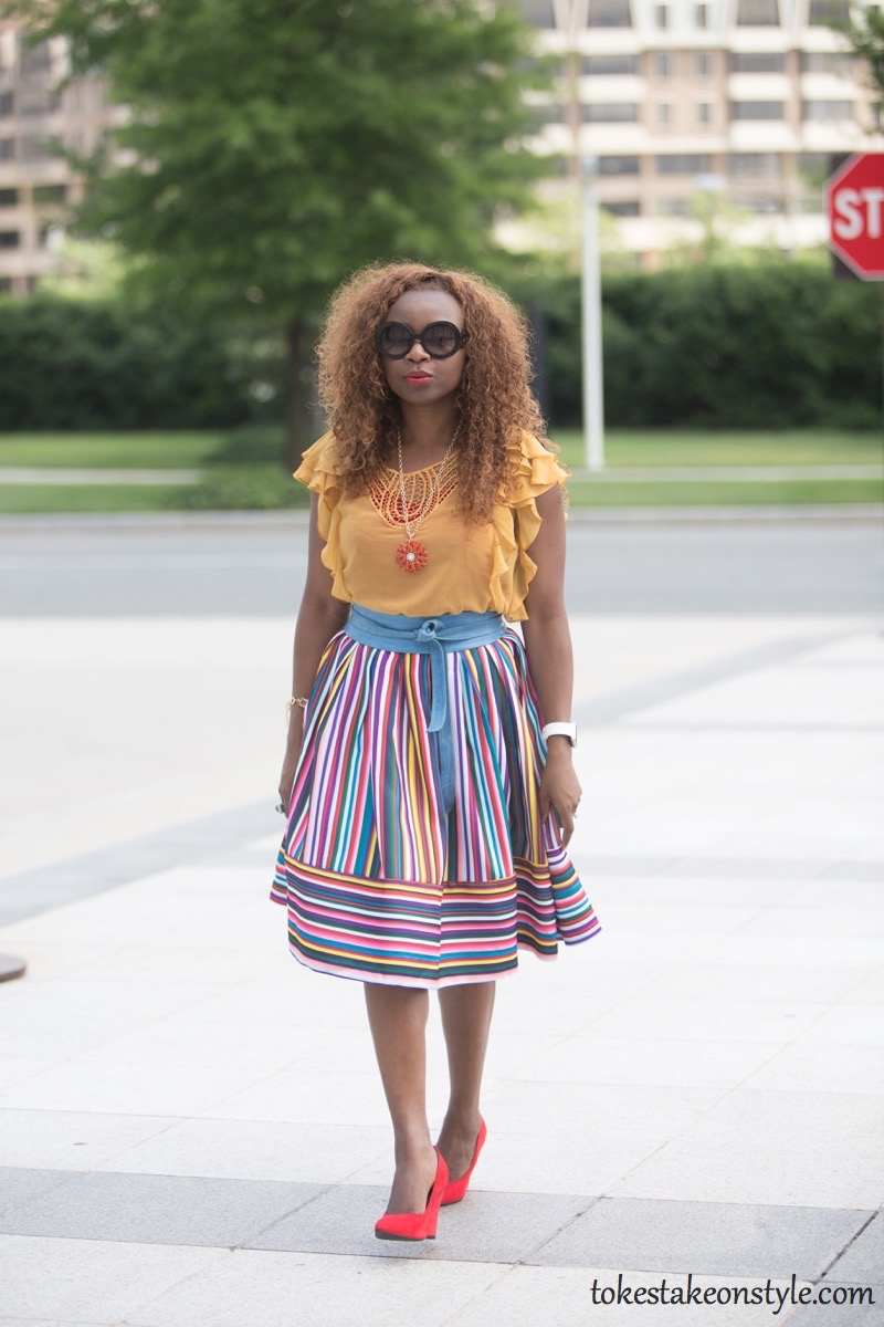 How to wear a multi-colored striped skirt49 (copy)