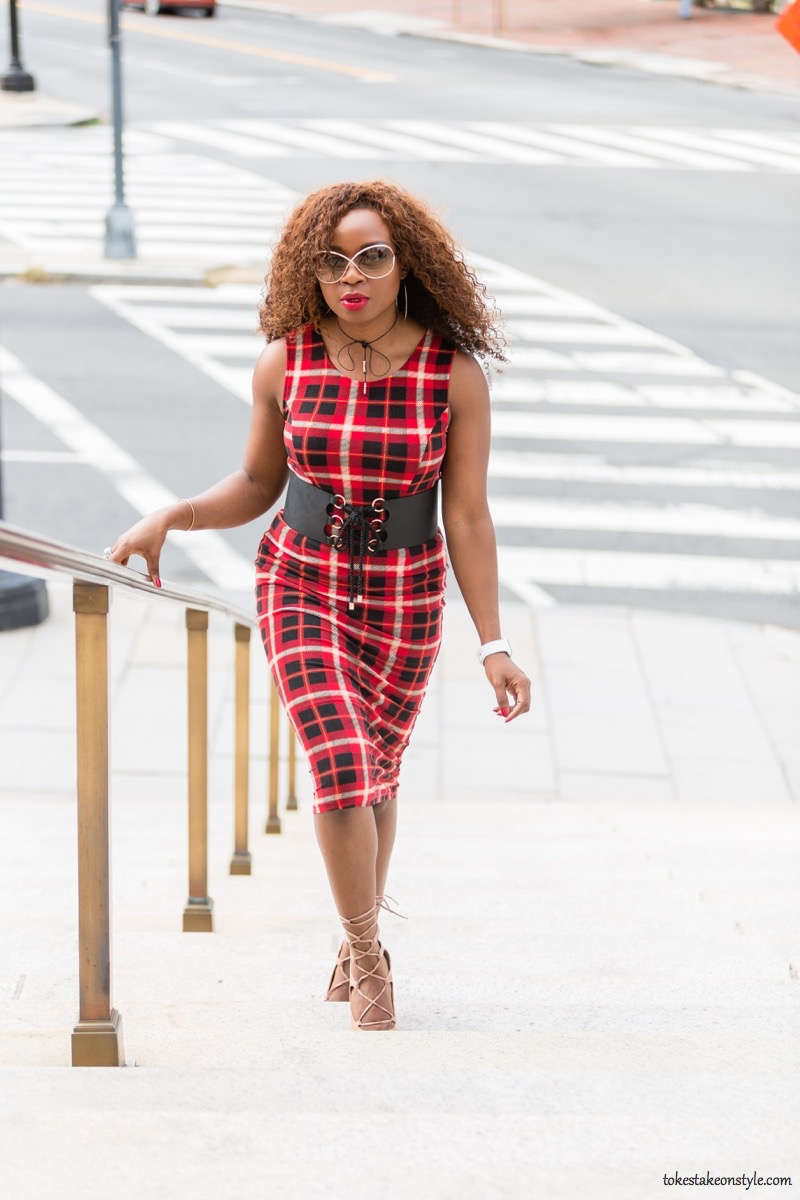 Red Plaid Bodycon Dress
