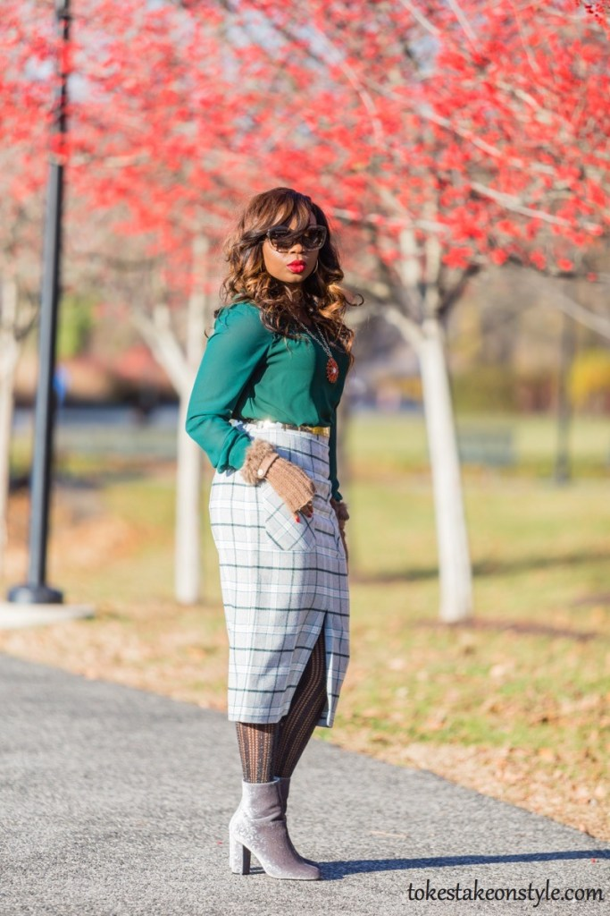 simple ways to style a plaid skirt for work tokestakeonstyle