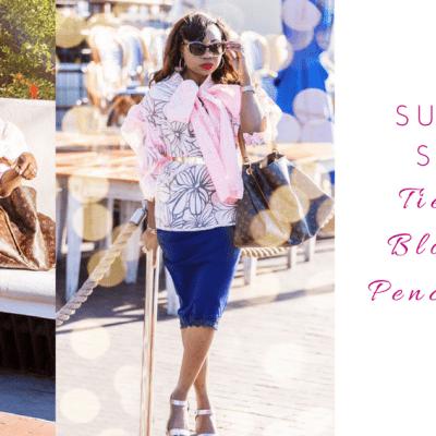 Summer Style Series: Pink Necktie Blouse & Pencil Skirt
