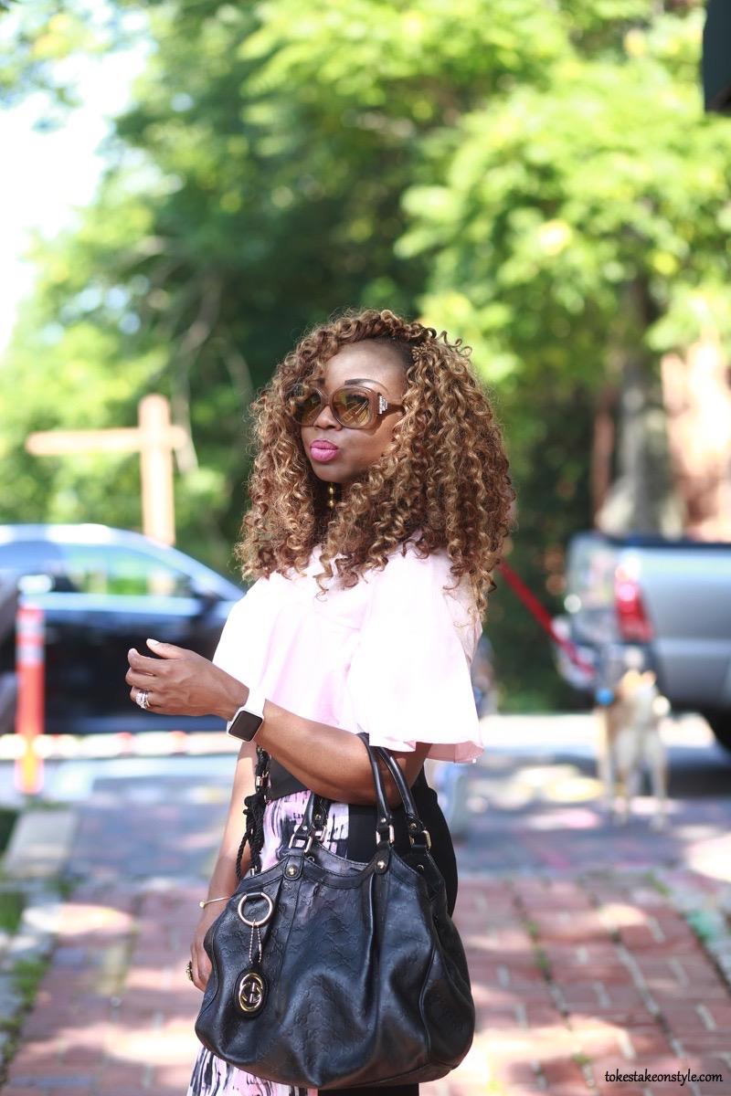 Black Gucci Bag Curly Hair