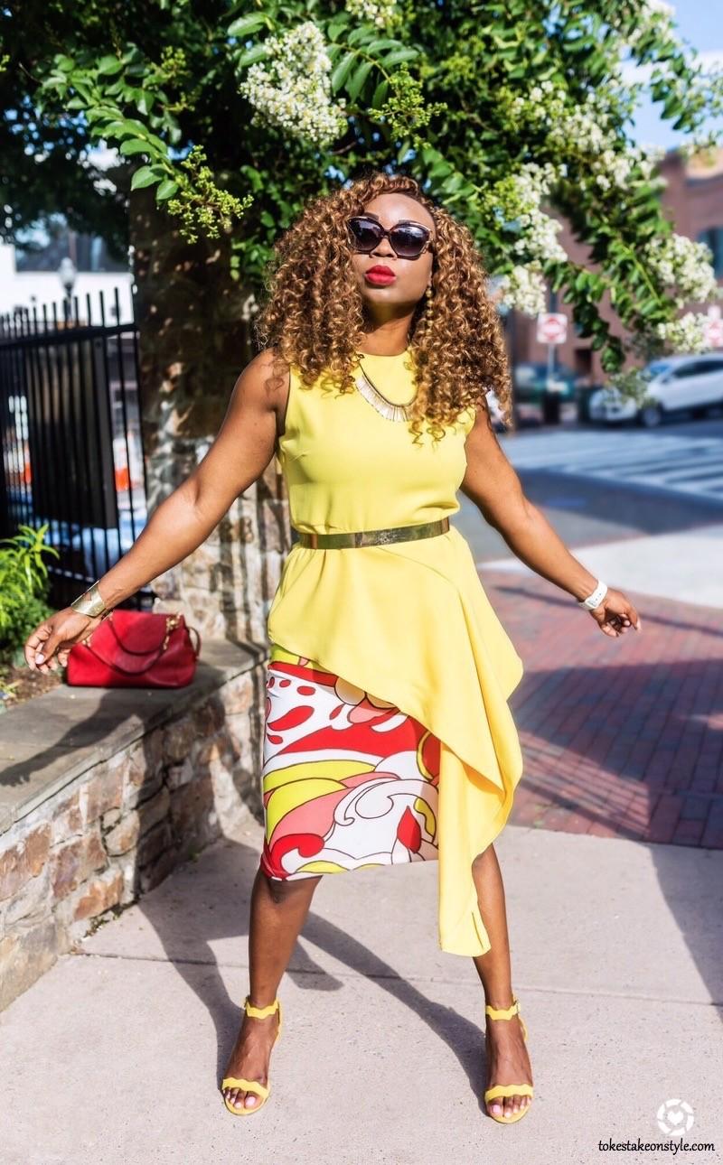 asymmetrical-yellow-top-print-skirt