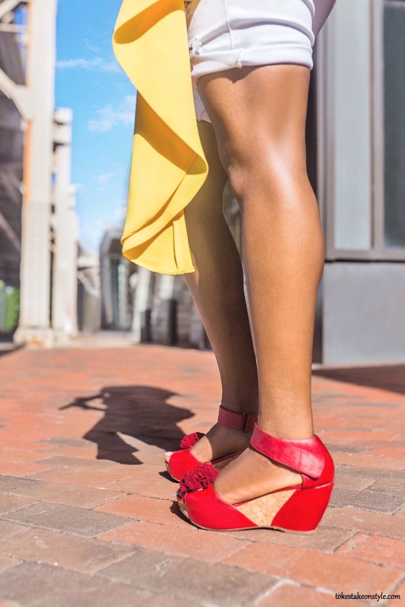 Cute red wedge sandals