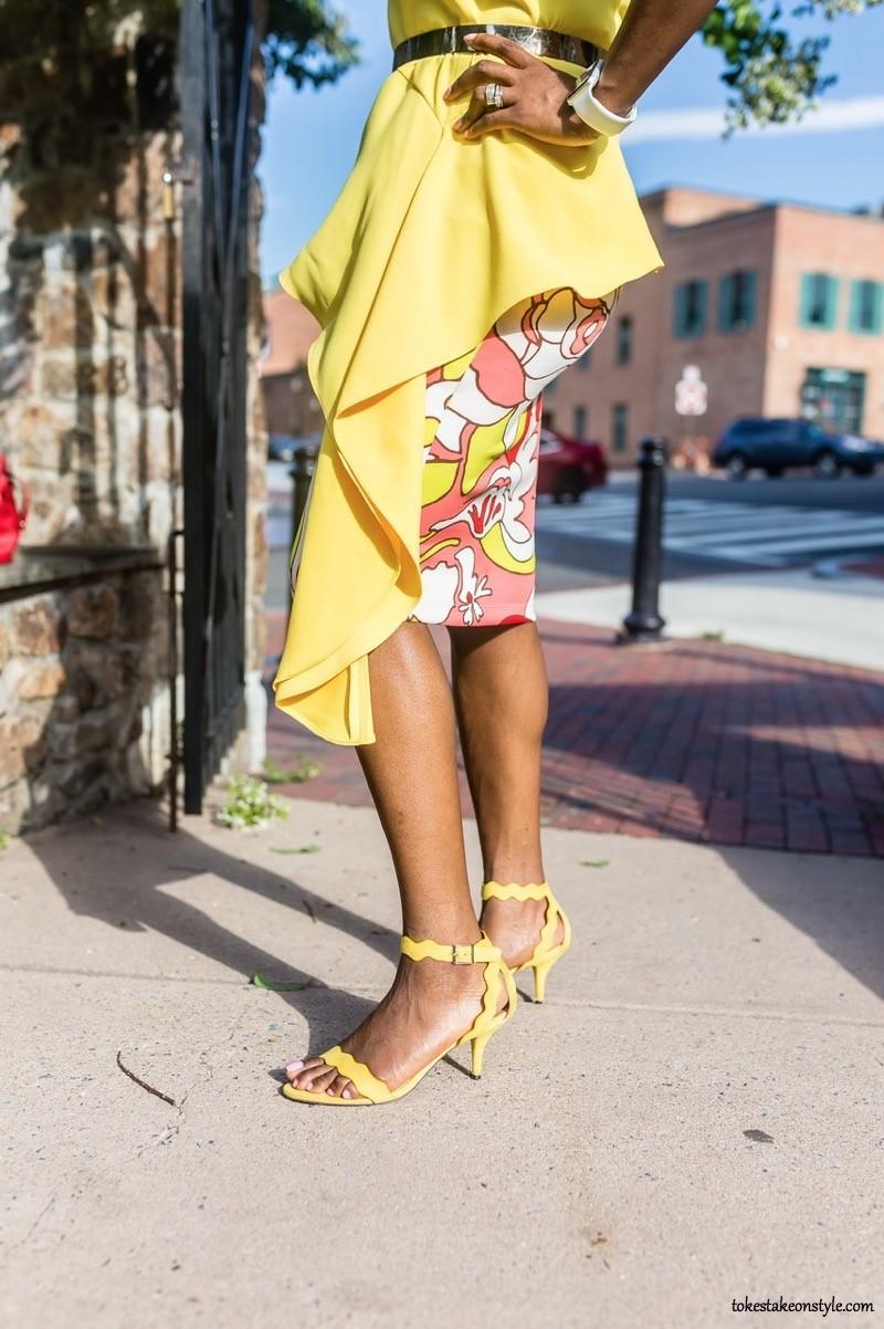yellow-asymmetrical-top-yellow-kitten-heel-sandals