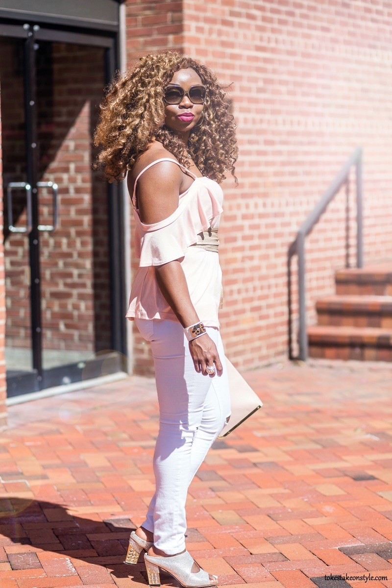 Pink cold shoulder top and white jeans