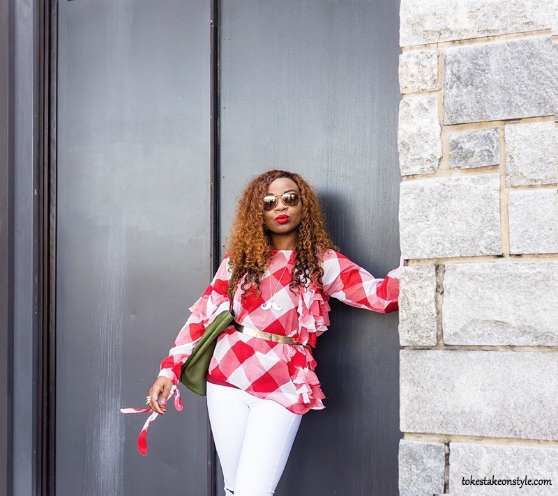 Black style blogger wearing gingham