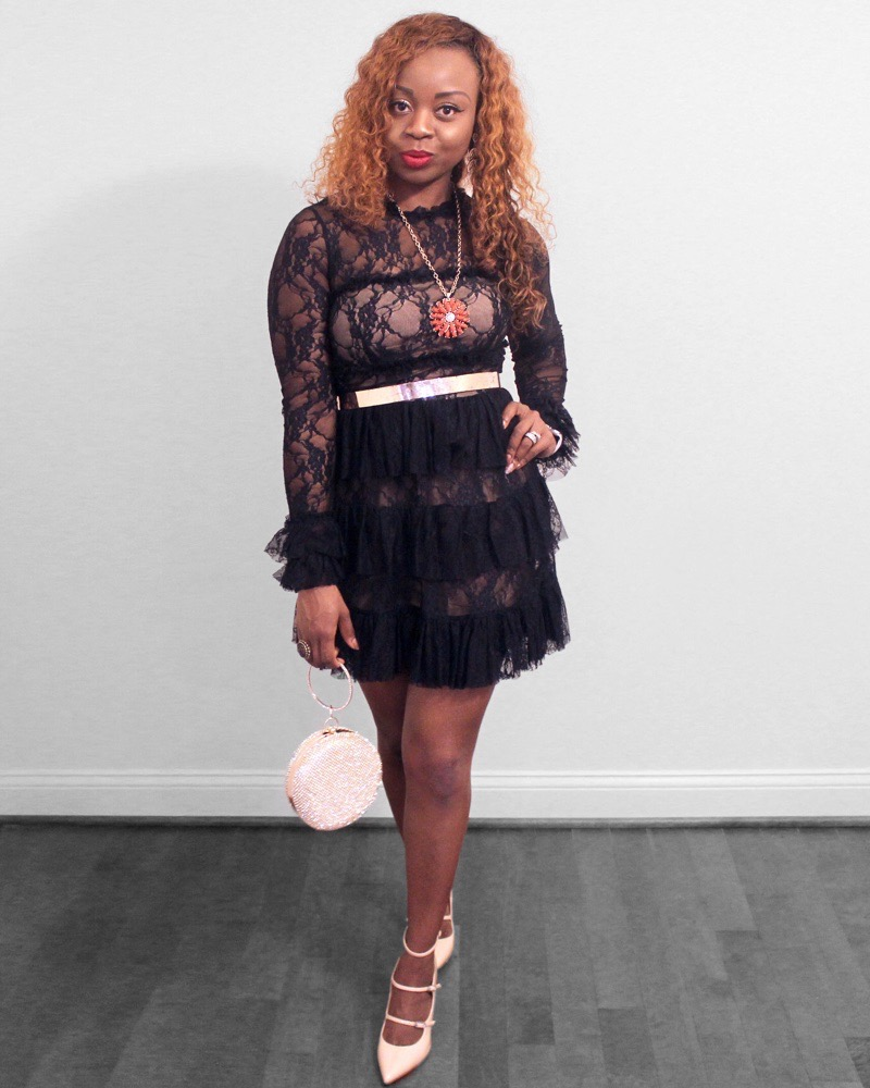Black lace dress for a holiday party