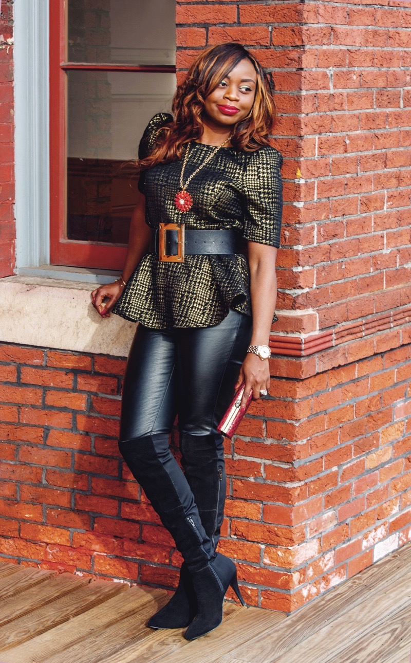 Leather pants with gold and black top and over the knee boots