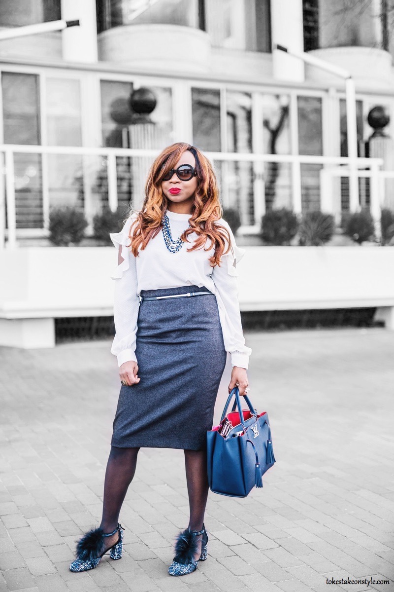 Cold shoulder blouse and pencil skirt