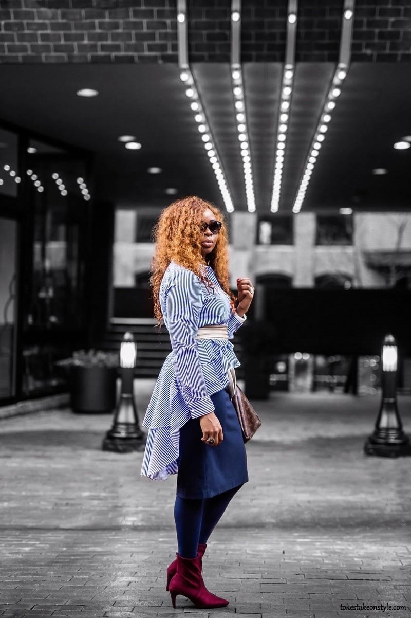 Blogger wearing striped Zara high low shirt