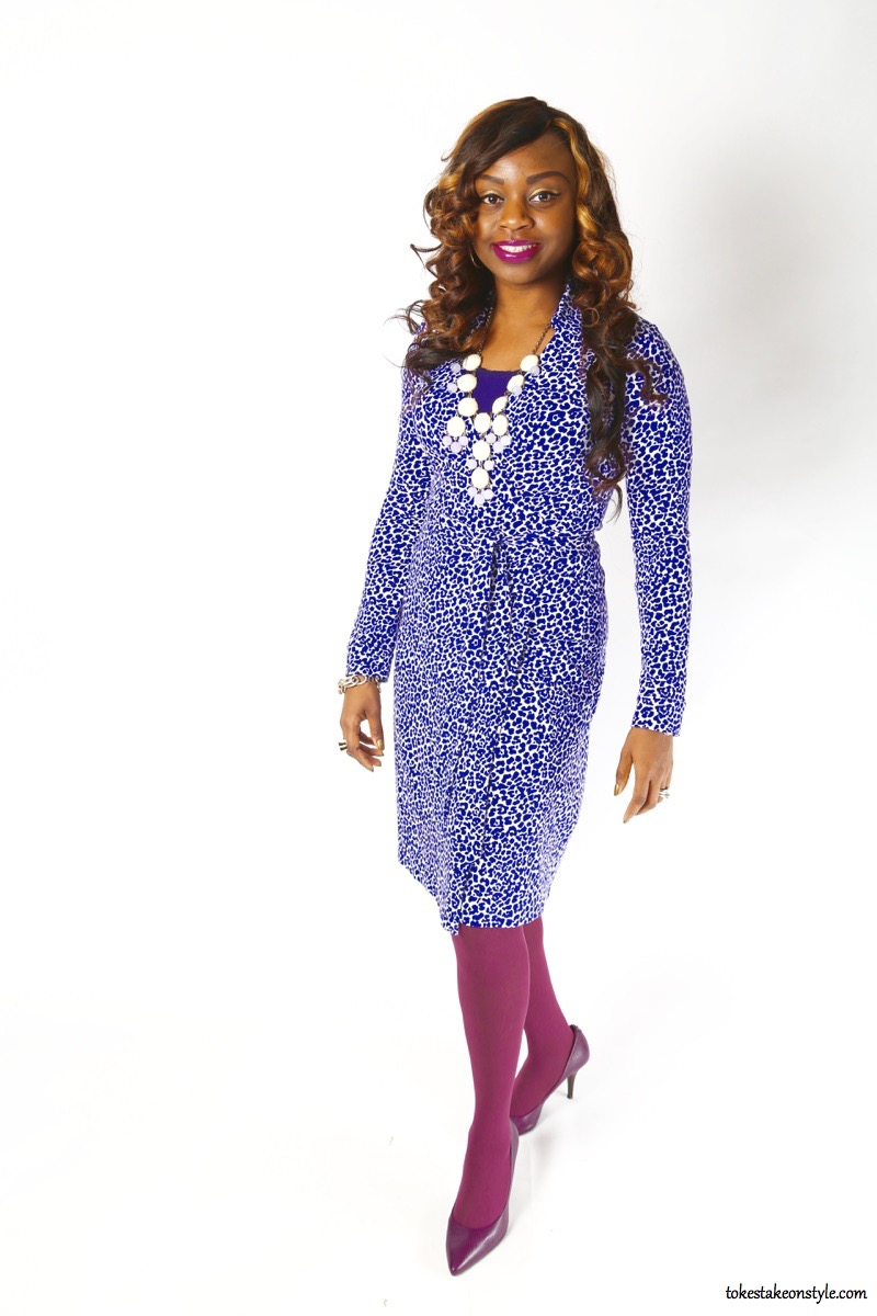 Purple print DVF wrap dress