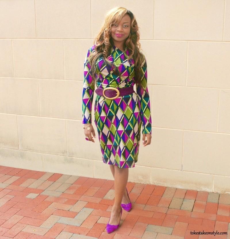 Purple busy prints dress
