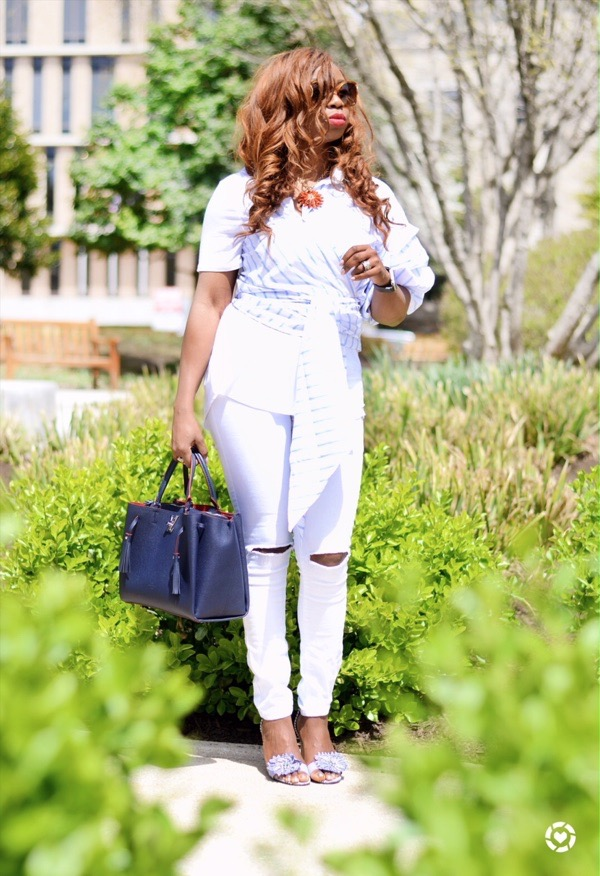 how to style white denim