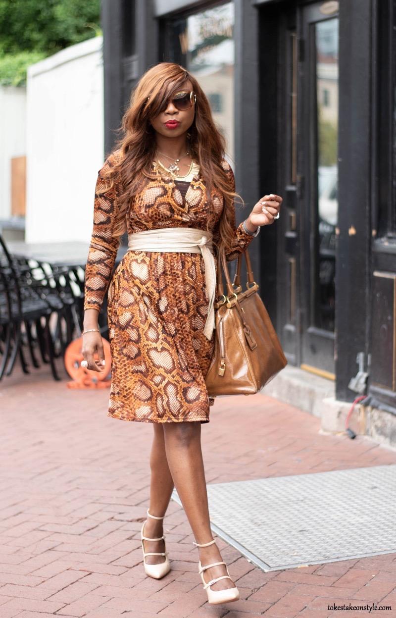 Fall style, Snake skin animal print dress