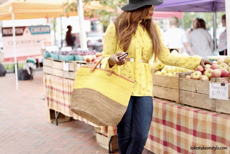 Lady in yellow top at Fells Point Farmers Market