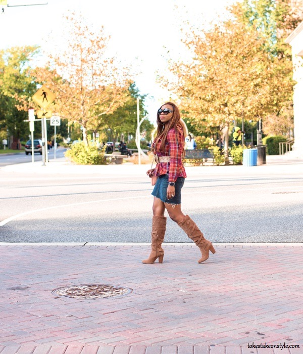 simple ways to style plaid with a denim skirt and tan knee high shoe dazzle boots