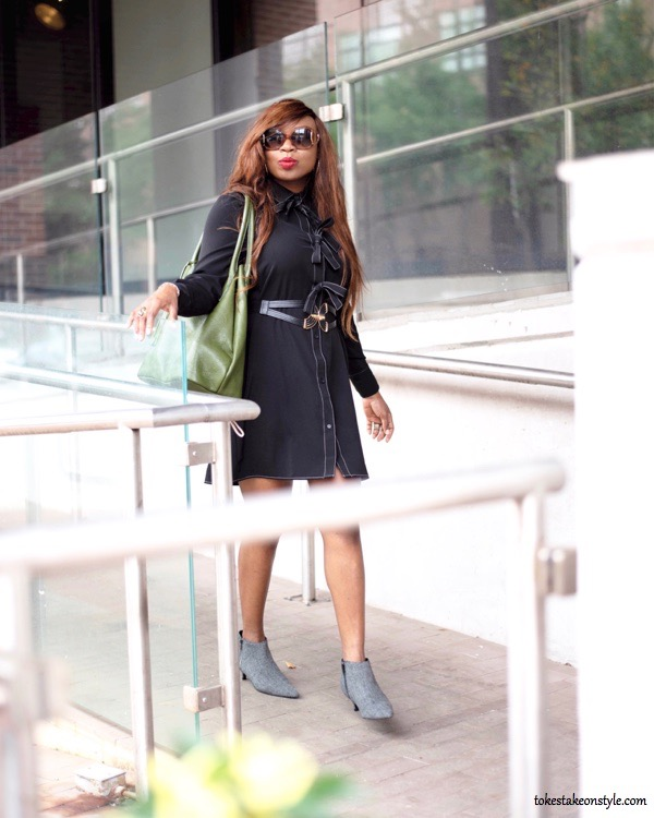 Black shirt dress and green Armadio tote bag