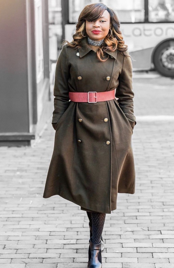Belted military style coat